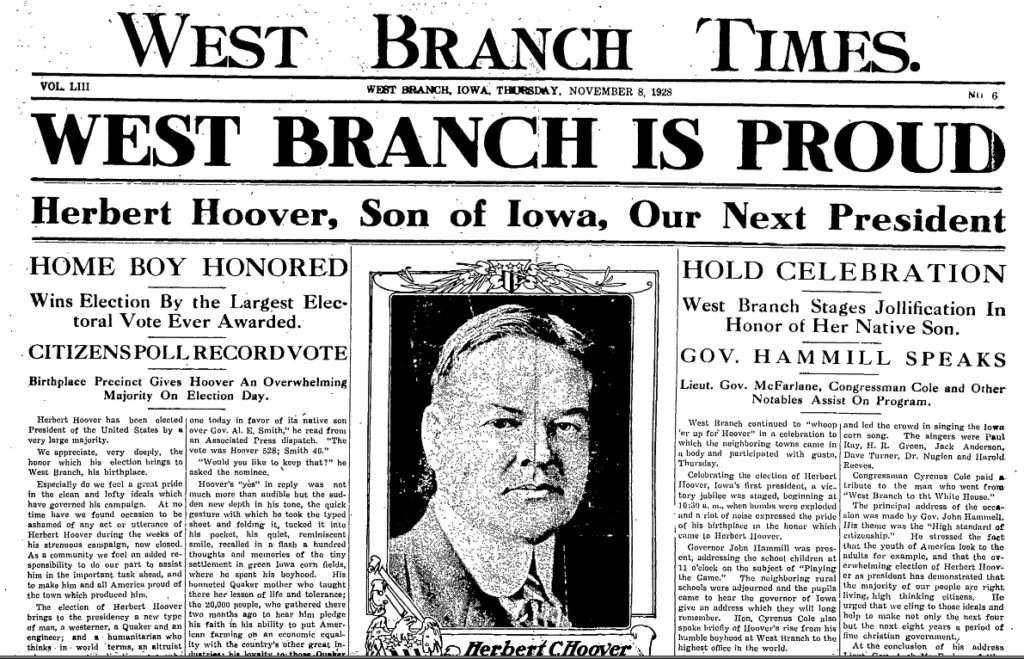 Image from a historic West Branch Times issue