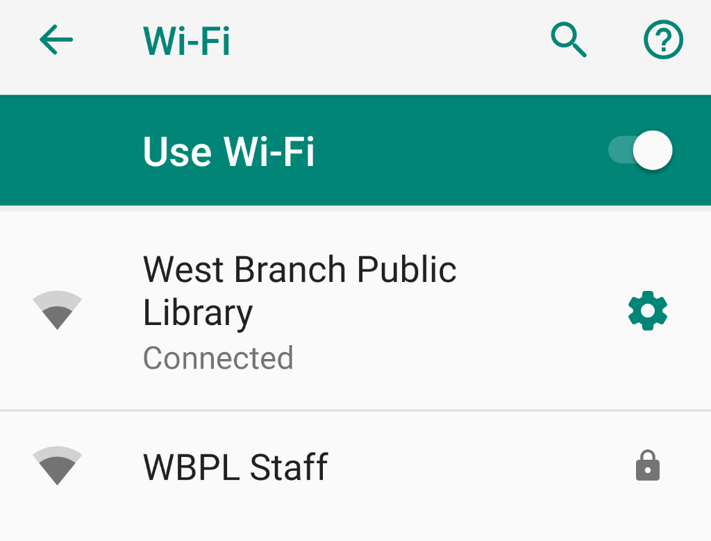 screenshot of WBPL wifi networks